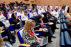 Media representatives and staffers take notes as U.S Secretary of State John Kerry addresses reporters during a joint news conference with Saudi Arabia Foreign Minister Adel al-Jubeir following a series of meetings focused on Yemen and other regional hotspots on August 25, 2016, in the Royal Terminal 1 at King Abdulaziz International Airport in Jeddah, Saudi Arabia. [State Department Photo/ Public Domain]