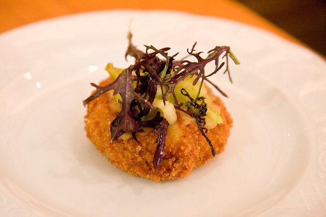 Kohlrabi croquette with apple and mustard, Torrisi