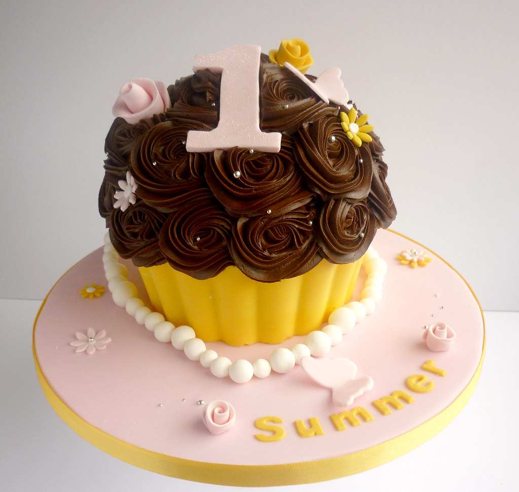 Fabulous Pink And Yellow 1St Birthday Giant Cupcake Liana Stevens Flickr Personalised Birthday Cards Sponlily Jamesorg