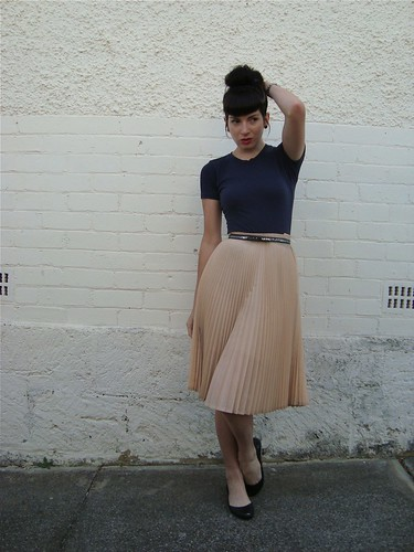 Navy, pleats & glitter