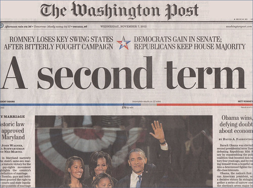 'A Second Term' -- The Washington Post November 7, 2012