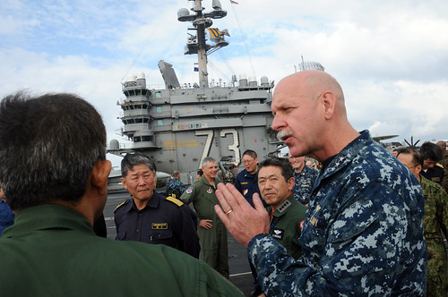 Vice Adm. Scott Swift speaks with senior military leaders from the United States and Japan