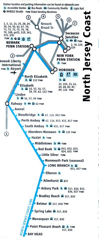 NJ Transit North Jersey Coast Line route