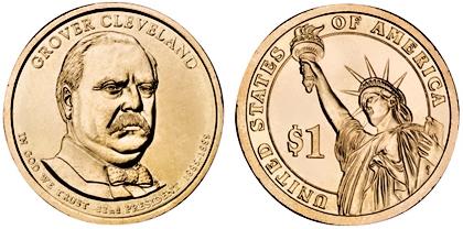 Prezidentský 1 dolár USA 2012 P, 22. prezident G.Cleveland