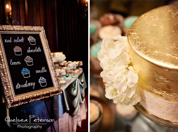 gold-leaf-cake-wedding-cupcakes-metallic-turquoise-menu