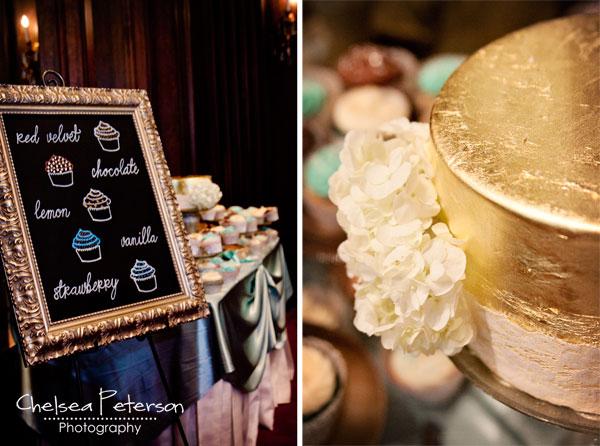 gold-leaf-cake-wedding-cupcakes-metallic-turquoise-menu