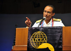 Adm. Cecil D. Haney speaks at the Armed Forces Communications and Electronics Association (AFCEA) Tech-Net Asia-Pacific Conference at the Royal Hawaiian Hotel, Nov. 15. (U.S. Navy Photo by Mass Communication Specialist 2nd Class David Kolmel)