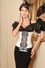 Bustier corset serre taille pas cher satin et dentelle noir