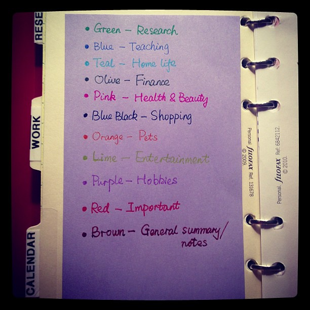 Updating my color coding system for 2013 filofax flickr for Color coding planner
