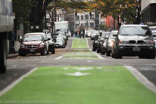 Green bike lanes Stark and Oak-7