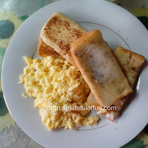 French toast with cheese and Fluffy Scrambled Eggs