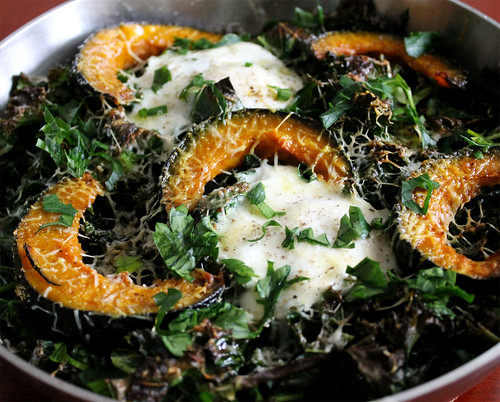 Broiled Eggs with Kale and Roasted Kabocha