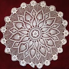 linens(0.0), tablecloth(0.0), lace(1.0), art(1.0), pattern(1.0), textile(1.0), doily(1.0), crochet(1.0), circle(1.0),