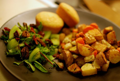 roasted root vegetables and green salad