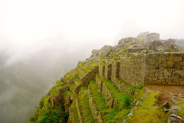 in a cloud at machu picchu
