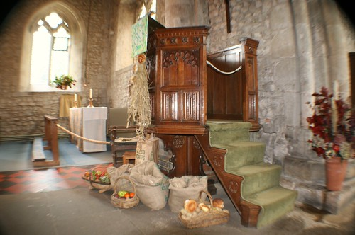 Harvest offering at Bosham Church, England