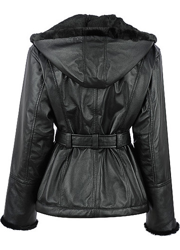 Wilsons Leather Hooded Leather Jacket with Fur Trim Back View