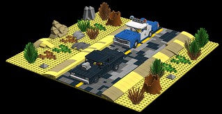 Lego Minifig scale Desert car chase!