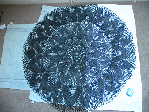 Ball shawl, blocking