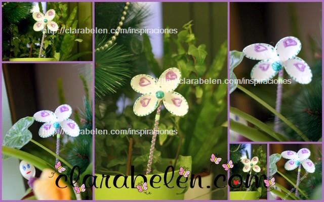 Flor con cuchara de plásico