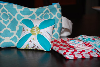 pin cushion, zipper pouch, and fat quarters