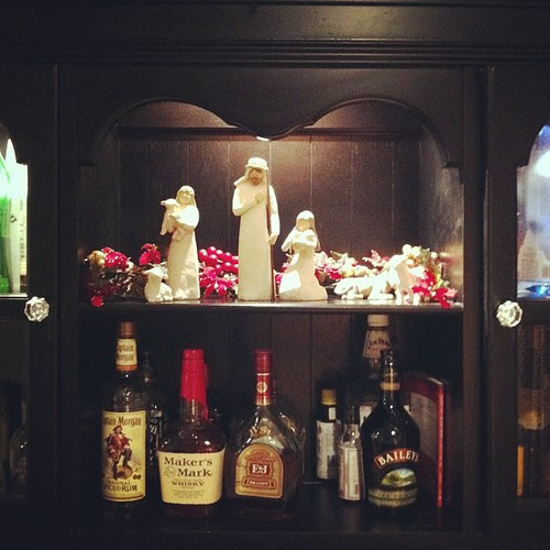 The nativity with the bar. That's how we roll in this house!