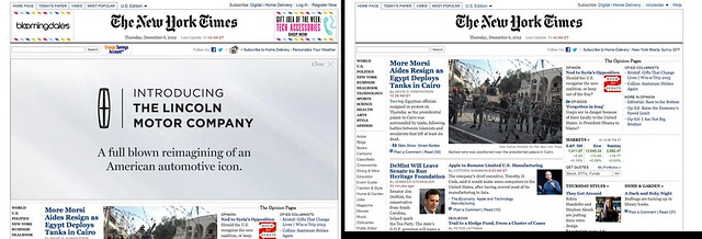 New York Times - with and without an adblocker