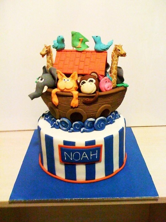 Noahs Ark First Birthday Cake A Photo On Flickriver