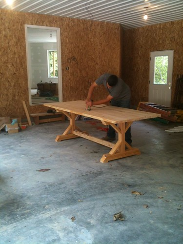Let 39 s just build a house diy rustic farmhouse table for Cost to build farmhouse
