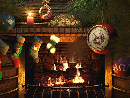 cozy fireplace christmas 3d screensaver
