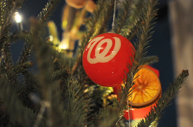 washington nationals ornament on christmas tree