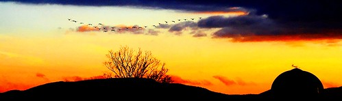 sunset sky mountains nature clouds digital canon landscape eos rebel xt flying geese colorful vermont silo hills vt