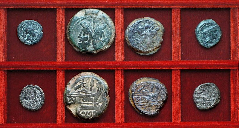RRC 144 Victory and LPF Furia sextans, RRC 145 Victory and spearhead bronzes, Ahala collection, coins of the Roman Republic