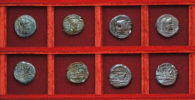 RRC 244 C.ABVRI GEM Aburia bronzes, RRC 245 M. MARCI MN.F Marcia bronzes, Ahala collection, coins of the Roman Republic