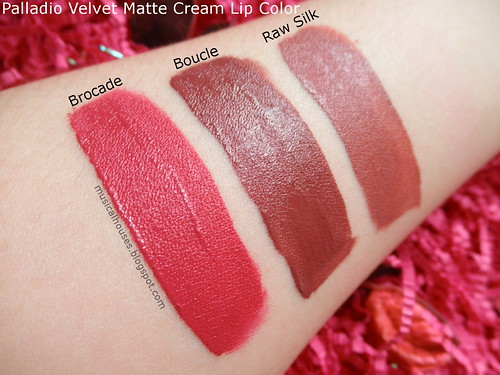Palladio Velvet Matte Lip Cream Color Swatches Boucle Brocade Raw Silk  Review