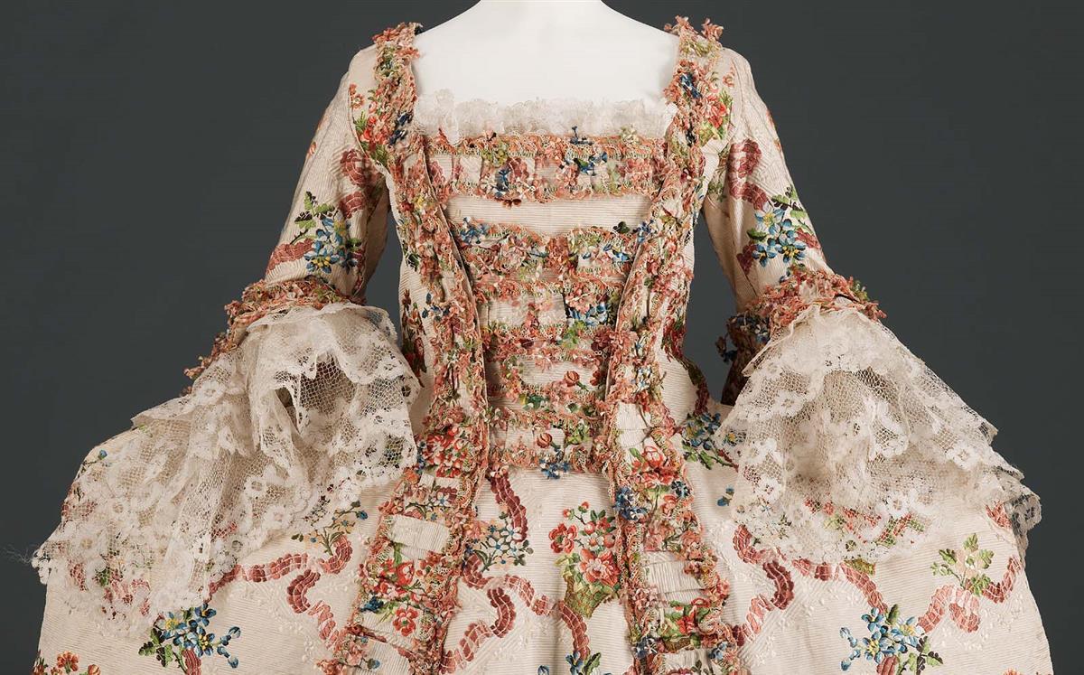 c1775. Robe a la Francaise. French. Silk bobbin lace. mfa.org