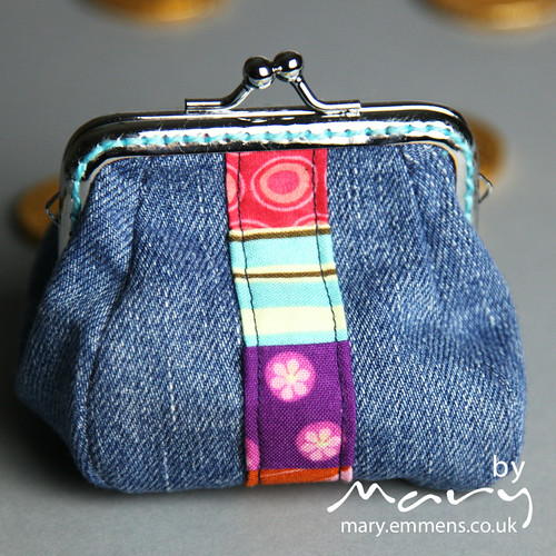Denim coin purse - front