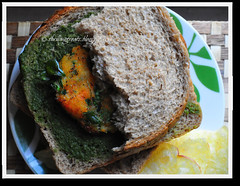 Carrot, fenugreek fritters and sandwiches