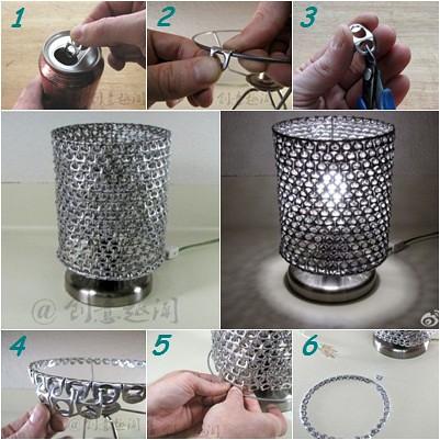 lámpara reciclada con anillas de lata evolucionverde.es
