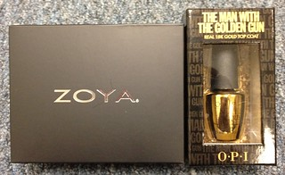 OPI The Man with the Golden Gun vs Zoya Gilty