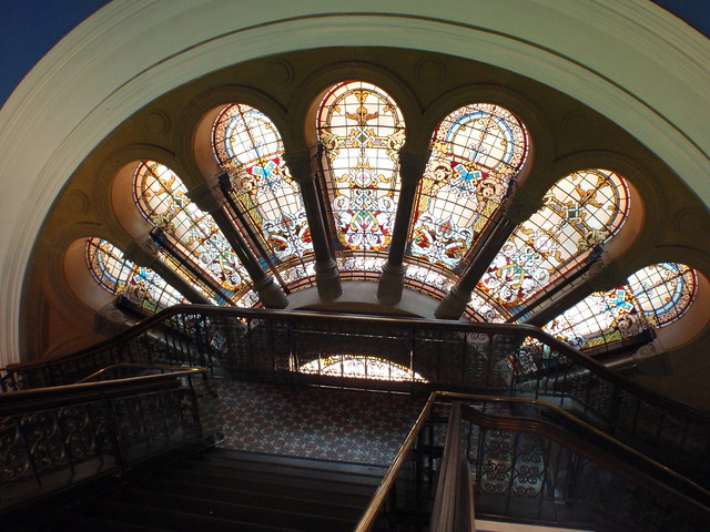 stainglass windows stairs Queen Victoria Building Sydney Australia