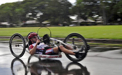Retired Master-at-Arms 3rd Class Nathan Dewalt participates in the first ever Wounded Warrior Pacific Trials biking event on Joint Base Pearl Harbor-Hickam, Nov. 13. (U.S. Navy photo by Mass Communication Specialist 3rd Class Sean Furey)