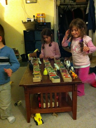 The kids make a grocery store.