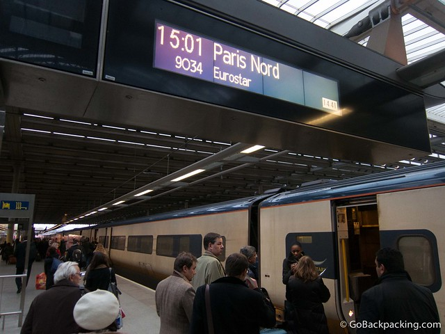 Preparing to board the Eurostar train from London to Paris