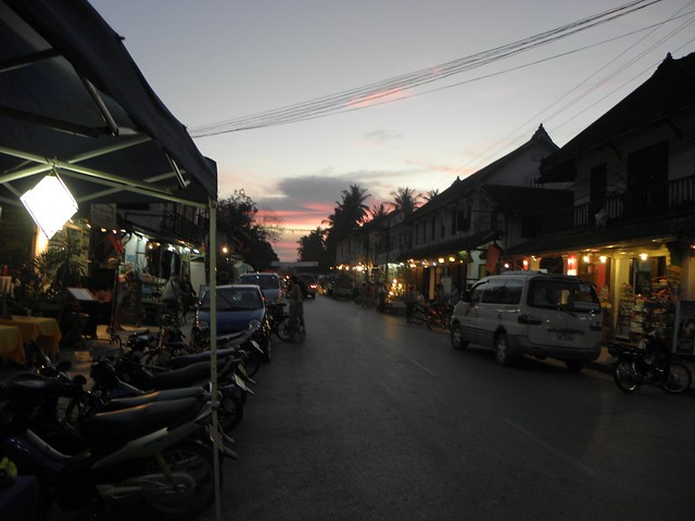 The sun sets over central Luang Prabang