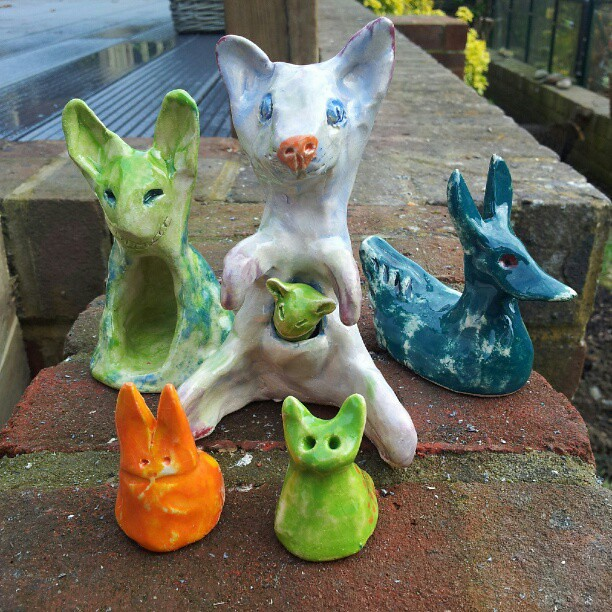 Mutant woodland animals fired and glazed
