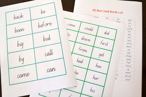 Free Printable Flashcards: 100 Most Used Words