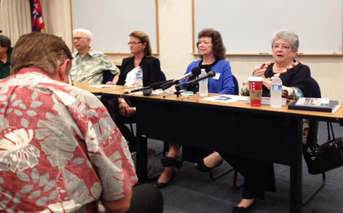 <p>At the UH community at Honolulu Community College are, from left, Board of Regents members James Lee and Chuck Gee, Honolulu Community College Chancellor Erika Lacro, UH Executive VP for Academic Affairs Linda Johnsrud and UH President M.R.C. Greenwood.</p>