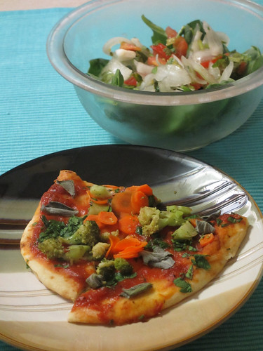 Veggie Pizza and Salad