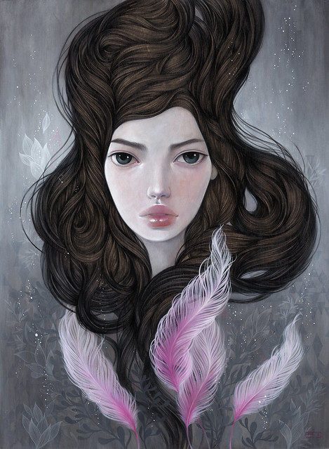 "Dawn of Asteria. 12"" x 16"". Acrylic and colored pencil on wood panel. ©2012."